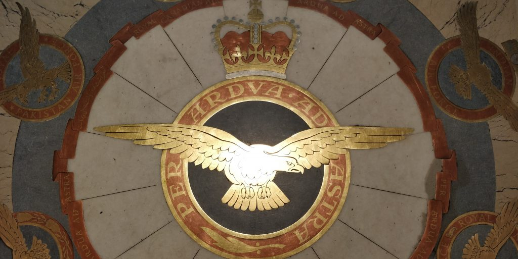 The RAF crest inlaid in the church floor
