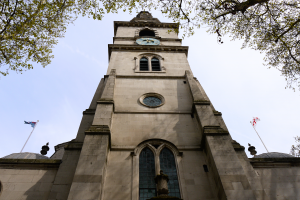The famous church tower and steeple
